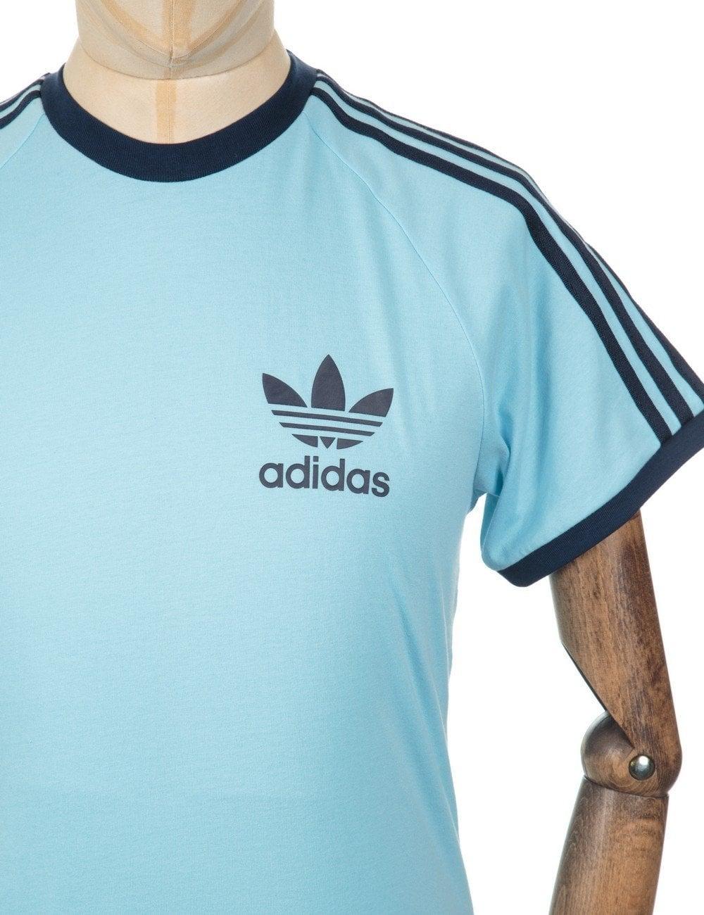 Adidas Originals Retro Trefoil Logo T Shirt Blush Blue