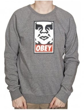 Obey Clothing OG Face Crew - Heather Grey