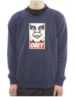 Obey Clothing OG Face Crew - Dark Denim