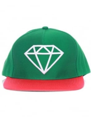 Diamond Supply Co Rock Snapback Hat - Green/White