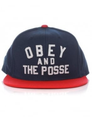 Obey Clothing Obey And The Posse Snapback Hat - Navy/Red