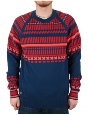 Lacoste Live Printed Jacquard Jumper - Inkwell/Red Sandalwood