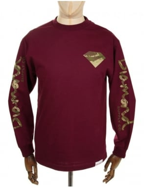 Diamond Supply Co LS Camo Diamond Tee - Burgundy