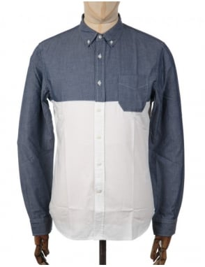Edwin Jeans Slim LS Shirt - Chambray Blue/White