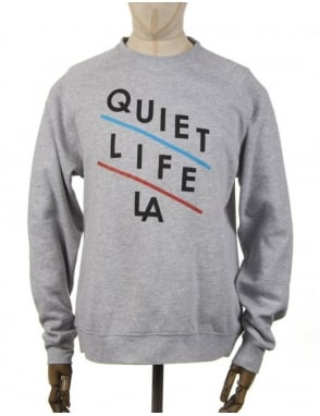 The Quiet Life Slant Logo Sweatshirt - Heather Grey