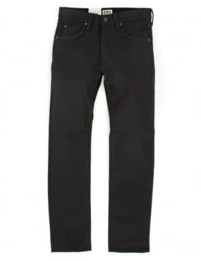 Edwin Jeans ED-55 Slim Tapered White Listed Selvedge Denim - Black Unwashed