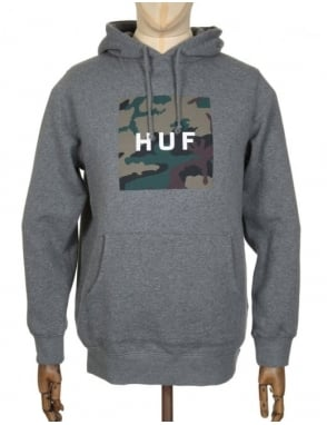 Huf Box Logo Muted Military Hooded Sweat - Heather Grey