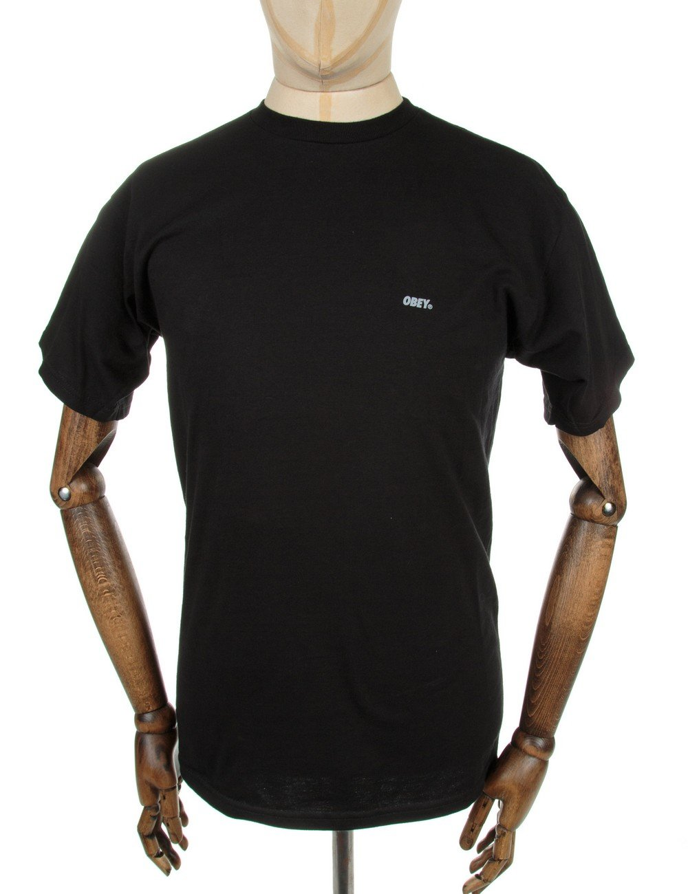 Obey clothing font reflective t shirt black obey for Black obey t shirt