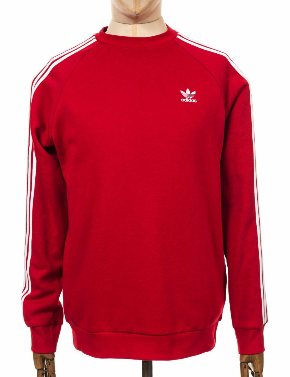 Adidas Originals 3 Stripe Trefoil Sweatshirt - Power Red - Clothing ... 6edfc318760a