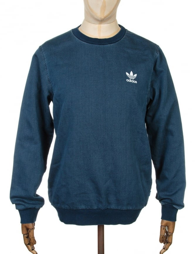 Adidas Originals Denim Sweatshirt - Medium Blue Denim