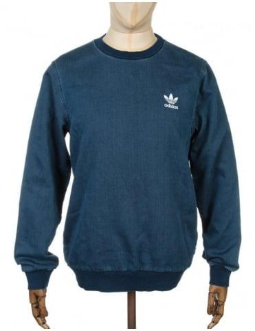 Adidas Originals Denim Sweatshirt - Medium Blue Denim