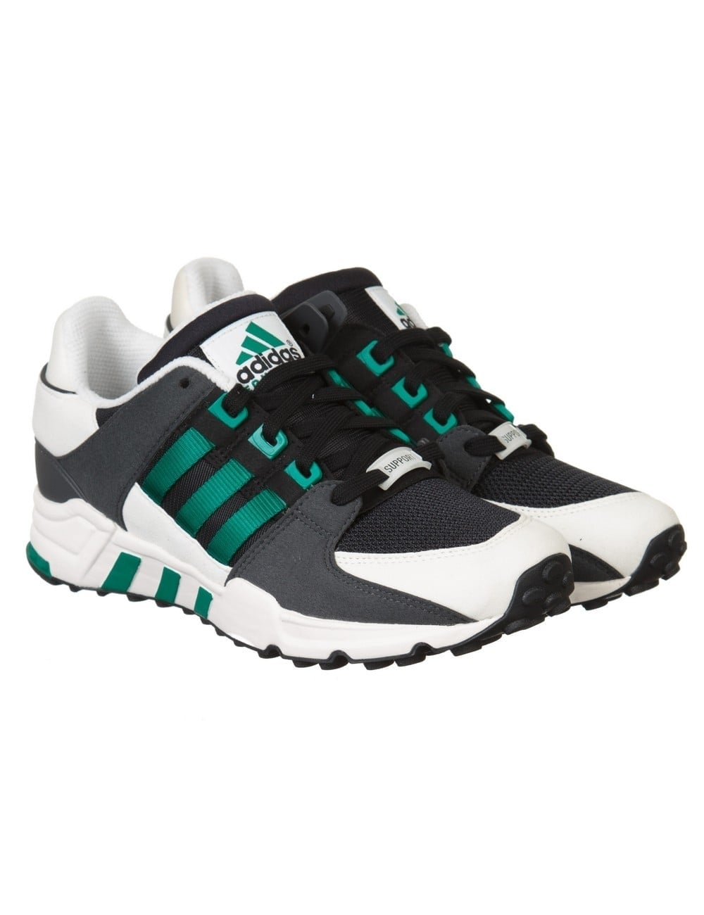 carga Proponer tomar  Adidas Originals Equipment Running Support Shoes - Black/Sub Green -  Trainers from Fat Buddha Store UK