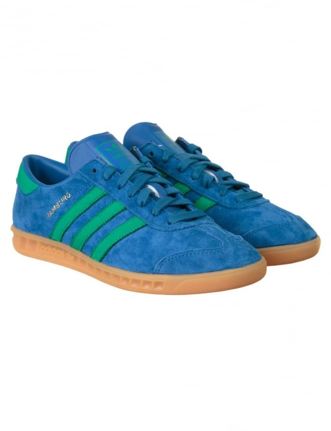 Adidas Originals Hamburg Shoes - Lush Blue/Fresh Green