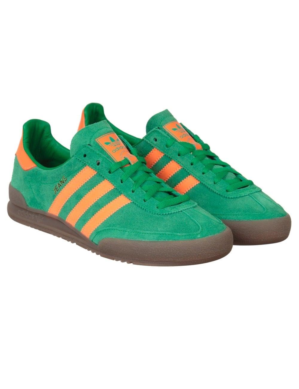 disco atractivo amante  Adidas Originals Jeans Shoes OG - Green/Solar Orange - Footwear from Fat  Buddha Store UK