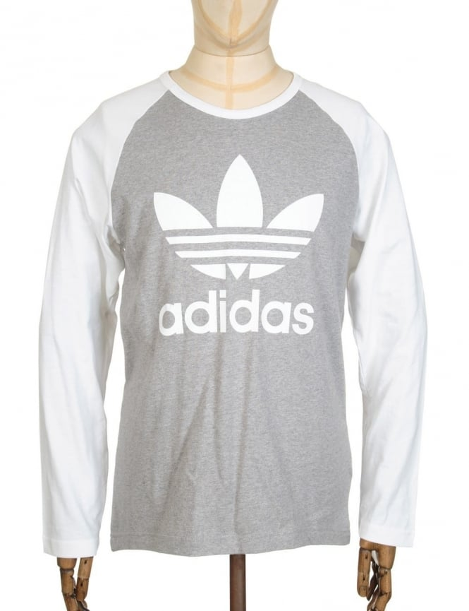Adidas Originals L/S Trefoil T-Shirt - Medium Grey Heather/White