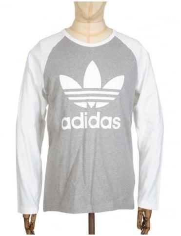 Adidas Originals L/S Trefoil T-Shirt - Medium Grey Heather/White