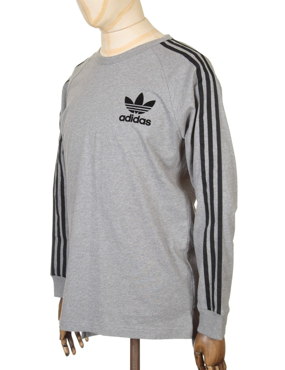 adidas originals ls retro fashion t shirt grey