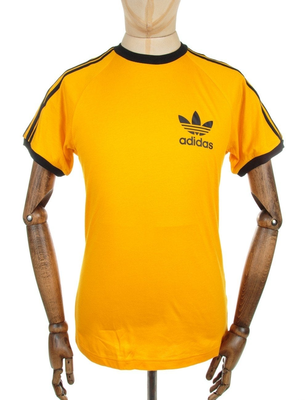 Retro trefoil logo t shirt collegiate gold clothing for Retro t shirts uk