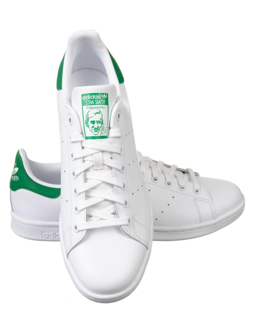 Adidas stan smith scarpe bianco / verde originali di calzature di grasso