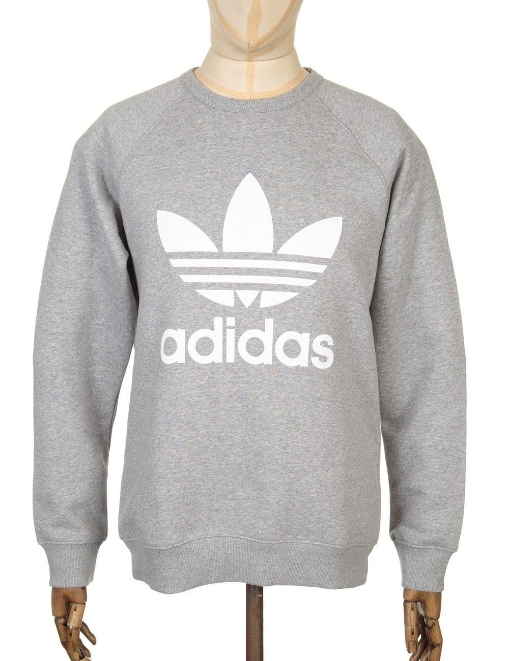 b676710c7904 Adidas Originals Trefoil Sweatshirt - Heather Grey - Clothing from ...