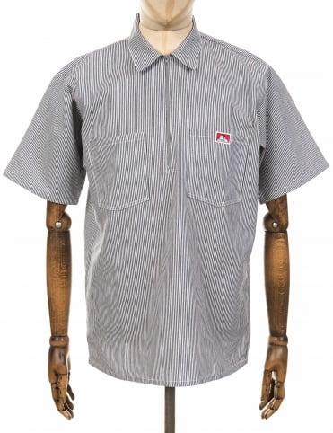 a5b5790b6f Ben Davis S/S Half Zip Work Shirt - Hickory Stripe