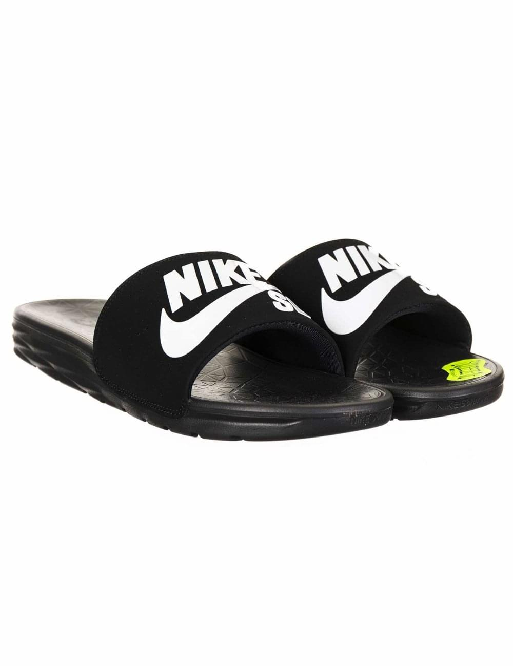 fe9699b945e Nike SB Benassi Solarsoft Sliders - Black White - Trainers from Fat ...