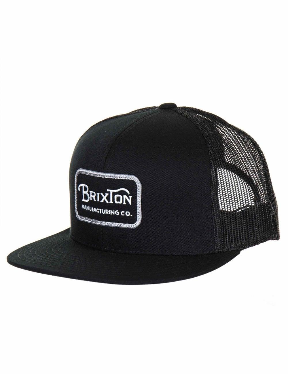 6d79c9ca858 Brixton Grade Mesh Trucker Hat - Black/Grey - Accessories from Fat ...