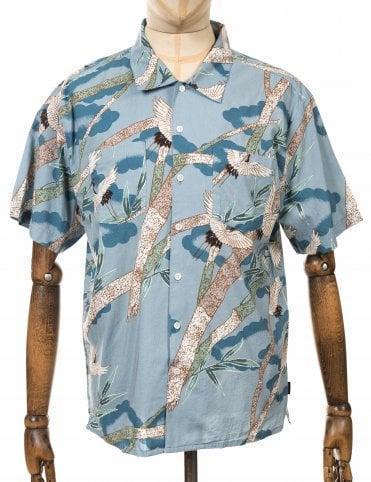 2900867795715 Brixton S S Lovitz II Woven Shirt - Blue Stone