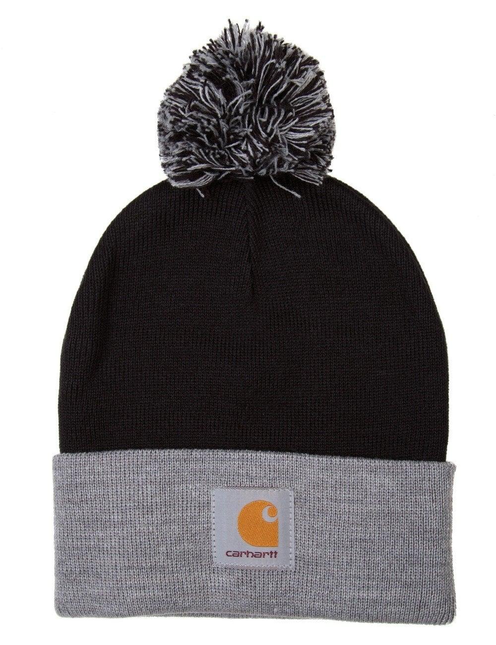 Carhartt WIP Britt Bobble Beanie Hat - Black Grey Heather - Hat Shop ... 2e40380a828f