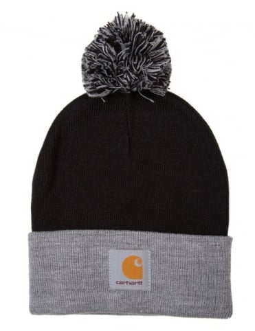 Carhartt Britt Bobble Beanie Hat - Black/Grey Heather