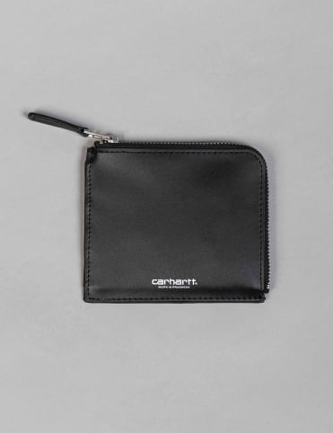 Half Zip Leather Wallet - Black