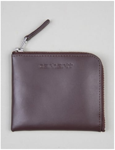 Half Zip Leather Wallet - Brown