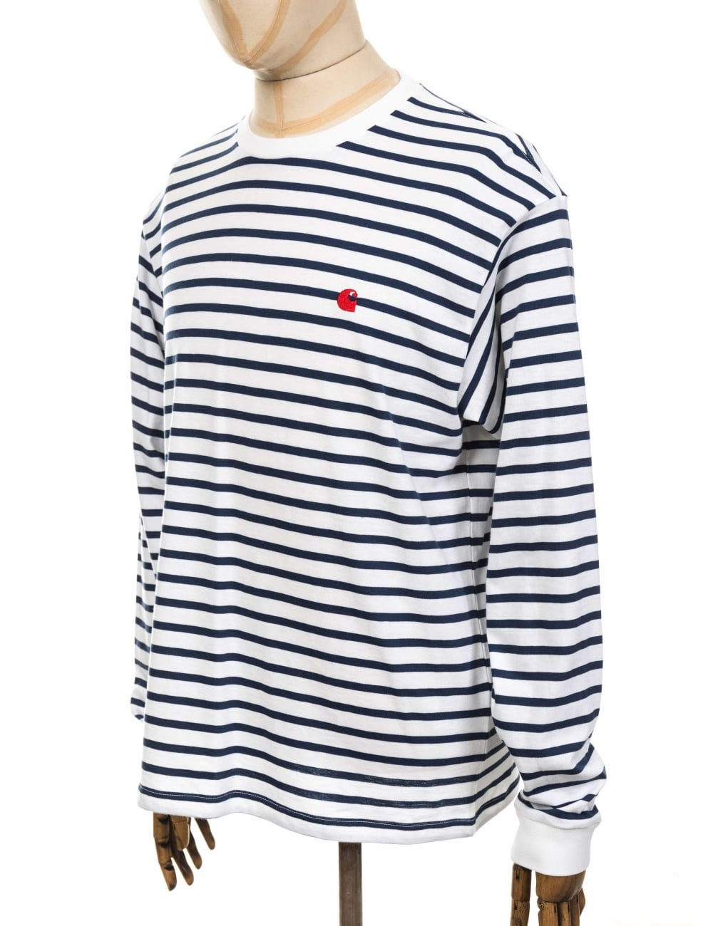 bcab06c875a9 Carhartt WIP L/S Champ Tee - Blue/White/Goji - Clothing from Fat ...