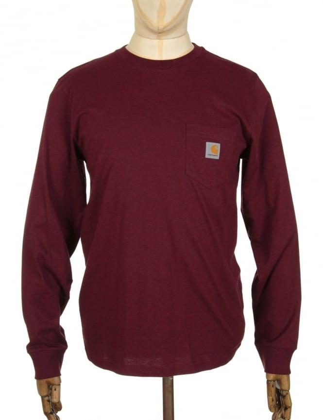 Carhartt L/S Pocket t-shirt - Chianti Heather