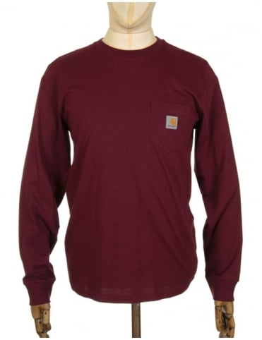 Carhartt L/S Pocket t-shirt - Chianti Heather
