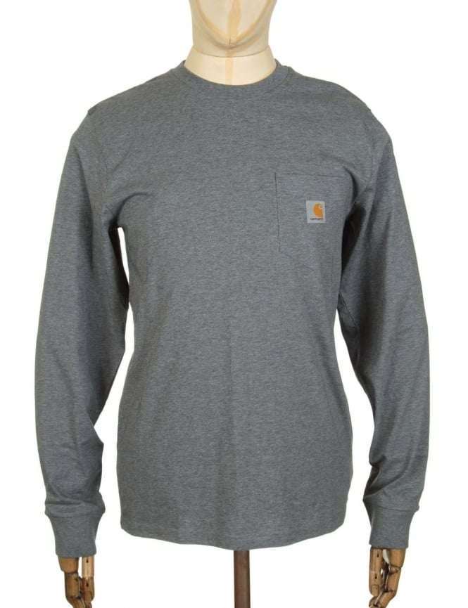 Carhartt L/S Pocket T-shirt - Dark Grey Heather