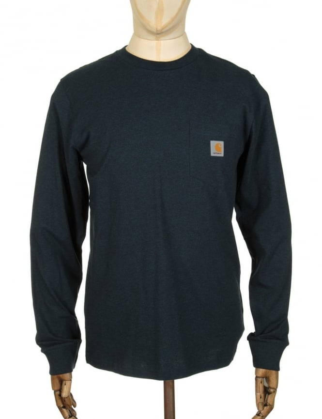 Carhartt L/S Pocket T-shirt - Navy Heather