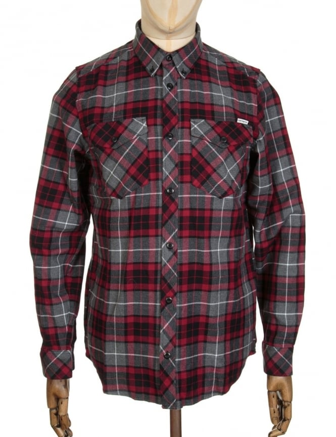 Carhartt L/S Tatum Check Shirt - Scarlet Red