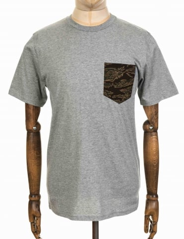 Lester Pocket Tee - Heather Grey/Tiger Camo