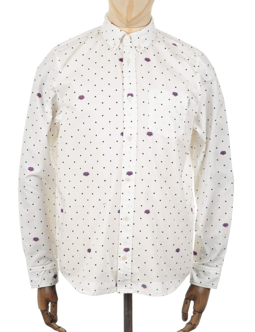 the best attitude 100% top quality hot products LS Crandall Shirt - White Heart Polka Dots