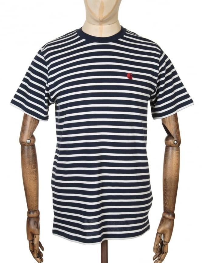 Carhartt Robie Stripe T-shirt - Navy/Snow