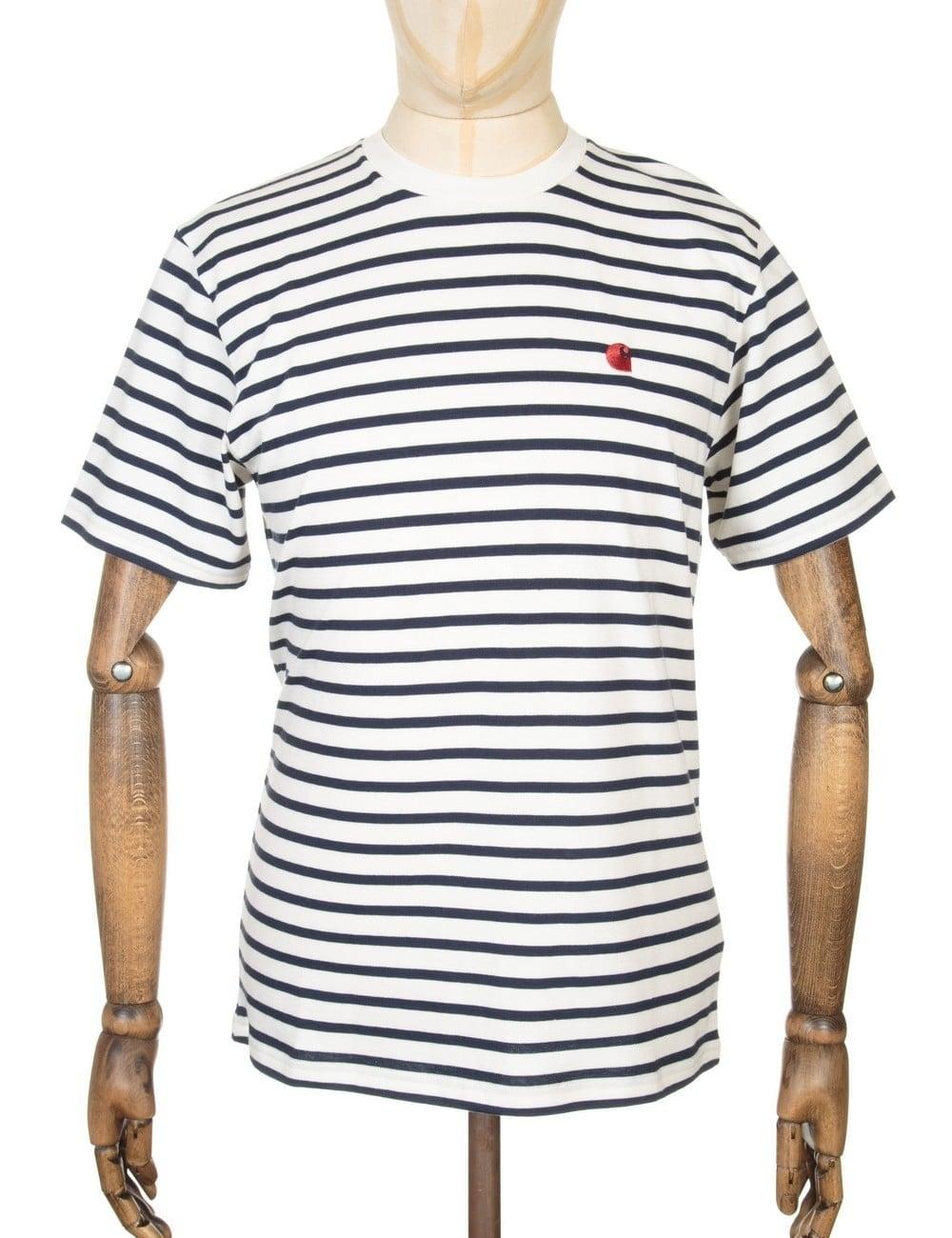 carhartt wip robie stripe tshirt snownavy clothing