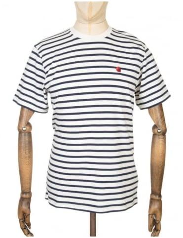 Carhartt Robie Stripe T-shirt - Snow/Navy