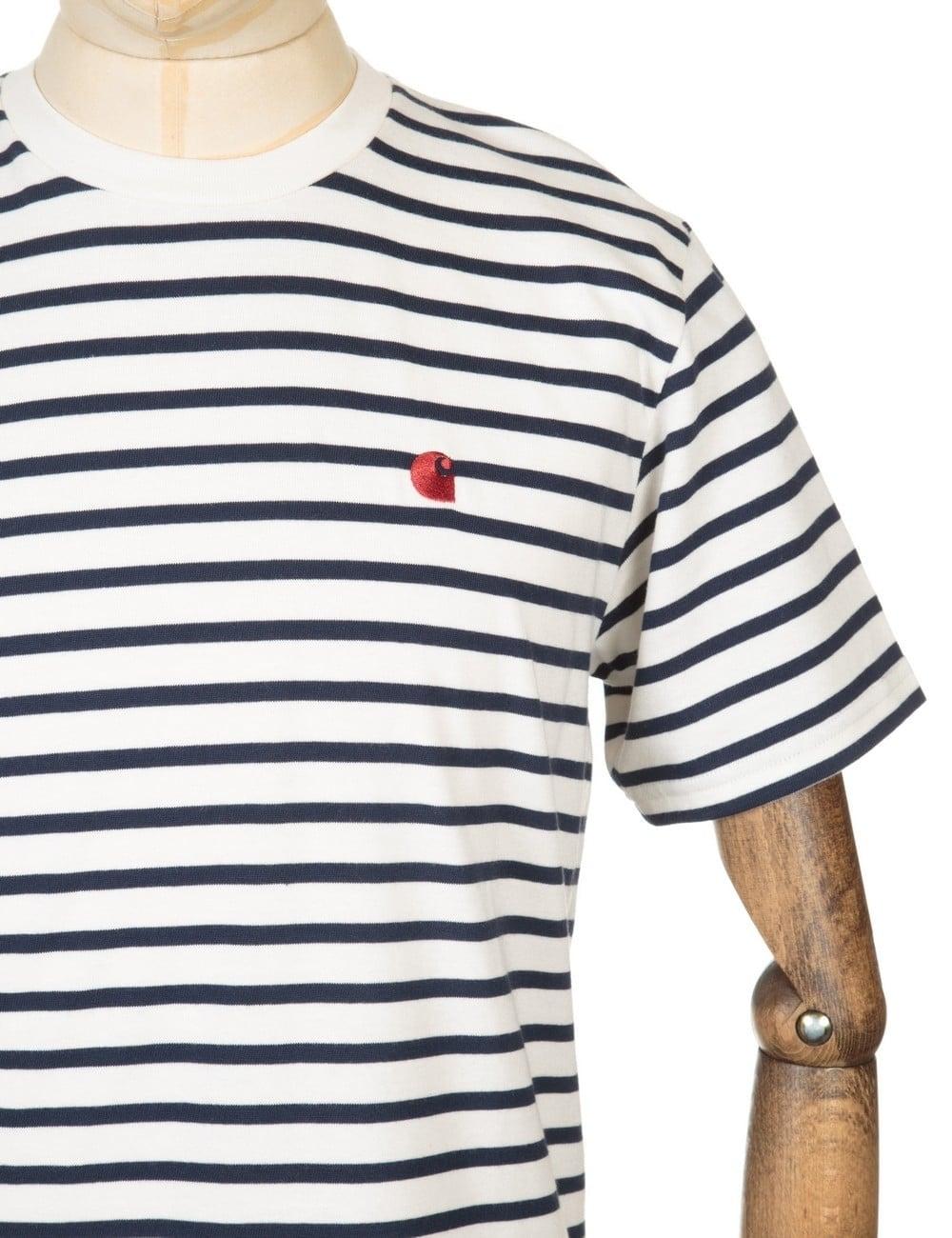 nowe tanie pierwsza stawka buty na tanie Robie Stripe T-shirt - Snow/Navy