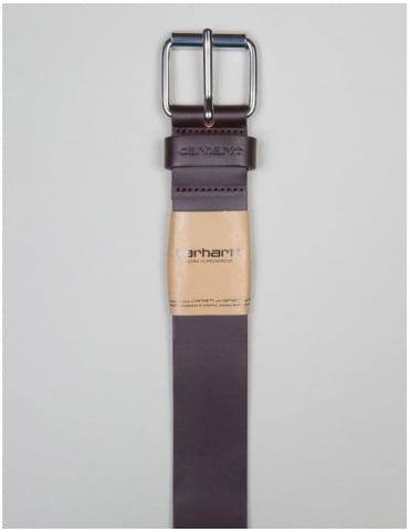 Script Leather Belt - Tobacco/Silver