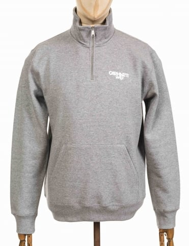 Shatter 1/4 Zip Neck Sweatshirt - Heather Grey