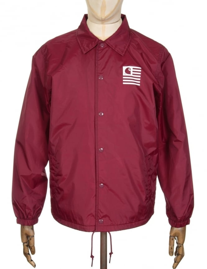 Carhartt State Coach Jacket - Cordovan/White