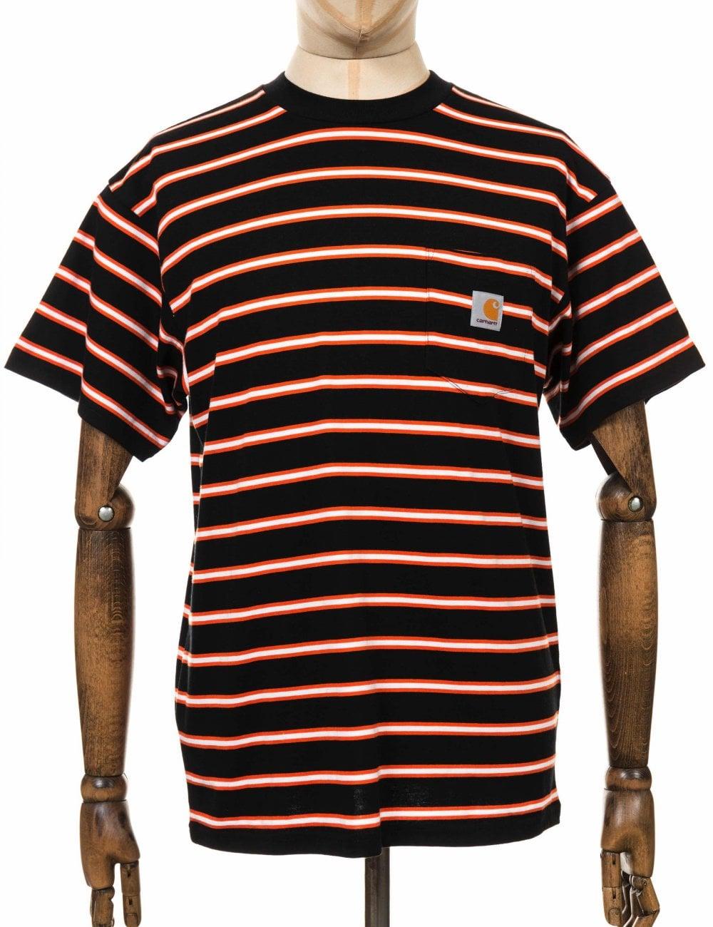 carhartt wip houston stripe pocket tee black clothing