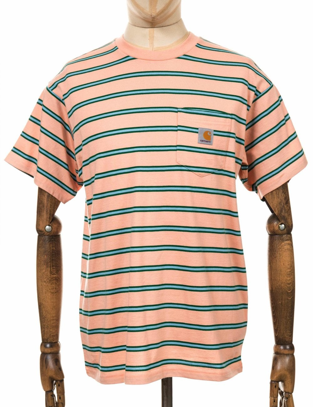 82d01ed30261 Carhartt WIP Houston Stripe Pocket Tee - Peach - Clothing from Fat ...