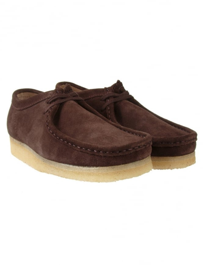 Clarks Originals Wallabee Shoes - Dark Brown Suede